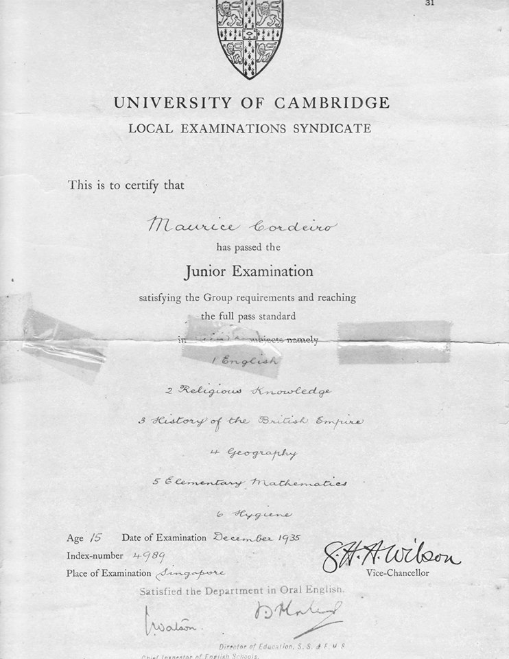 Maurice Corderio1935 1st Batch of Jr Cambridge Leaving Exam