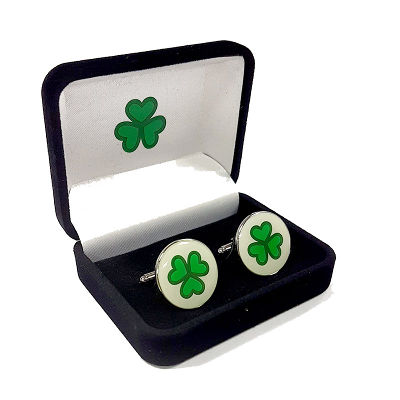 Shamrock Cuff Links – Round