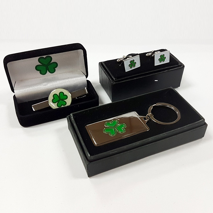 Gift Set Of Three  – Tie Clip, CuffLinks (Square) & Key Chain