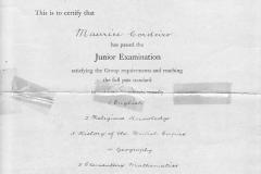 Maurice Corderio1935 1st Batch of Jr Cambridge Leaving Exam